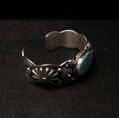 Image 2 of Native American Navajo Turquoise Silver Bracelet ~ Albert Jake