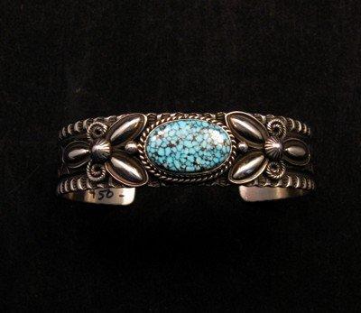 Image 0 of Navajo Andy Cadman Kingman Turquoise Silver Bracelet