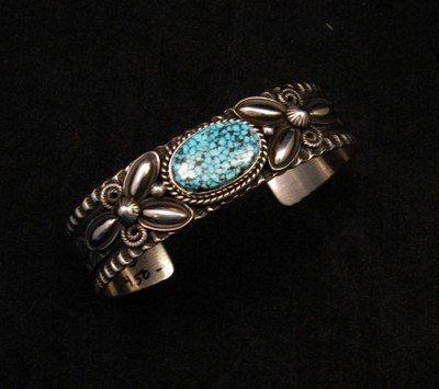 Image 1 of Navajo Andy Cadman Kingman Turquoise Silver Bracelet