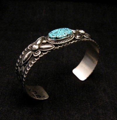 Image 2 of Navajo Andy Cadman Kingman Turquoise Silver Bracelet