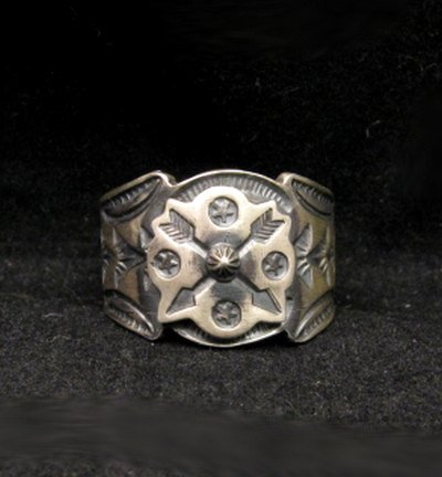 Gary Reeves Navajo Crossed Arrows Sterling Silver Ring sz9-1/2