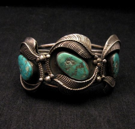 Genuine Vintage Native American Turquoise Silver Bracelet