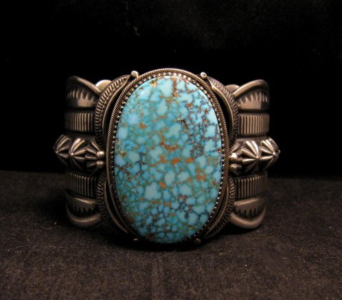 Image 0 of Navajo Indian Delbert Gordon Kingman Turquoise Silver Bracelet