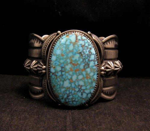 Navajo Indian Delbert Gordon Kingman Turquoise Silver Bracelet