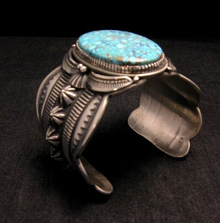 Image 2 of Navajo Indian Delbert Gordon Kingman Turquoise Silver Bracelet