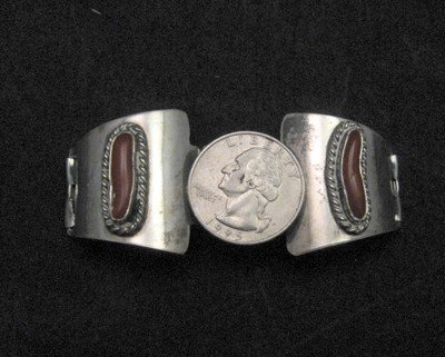 Image 2 of Vintage Native American Pawn Coral Watch Tips