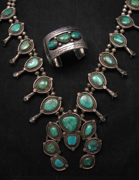 Heavy Vintage Native American Navajo Turquoise Squash Blossom Necklace &Bracelet