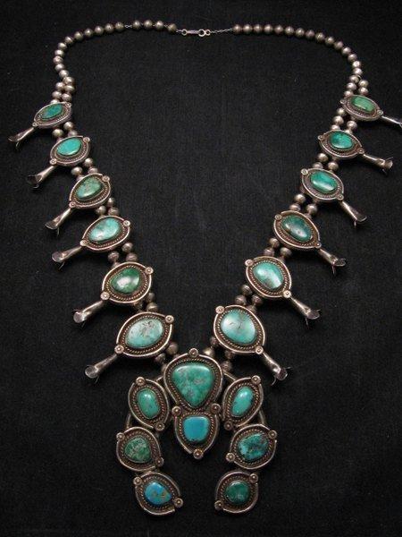 Image 1 of Heavy Vintage Native American Navajo Turquoise Squash Blossom Necklace &Bracelet