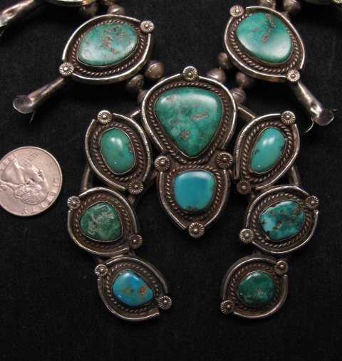Image 2 of Heavy Vintage Native American Navajo Turquoise Squash Blossom Necklace &Bracelet