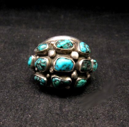 Vintage Native American Turquoise Silver Dome Ring sz7
