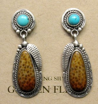 Image 0 of Navajo Turquoise and Petrified Palm Wood Earrings, Martha Willeto