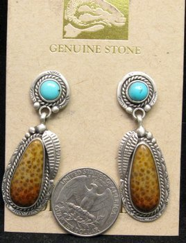 Image 1 of Navajo Turquoise and Petrified Palm Wood Earrings, Martha Willeto