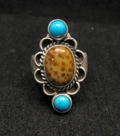 Navajo Turquoise and Petrified Palm Wood Ring sz6-sz7, Martha Willeto