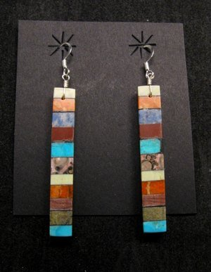 Extra-Long Mary Tafoya Santo Domingo Multigem Earrings