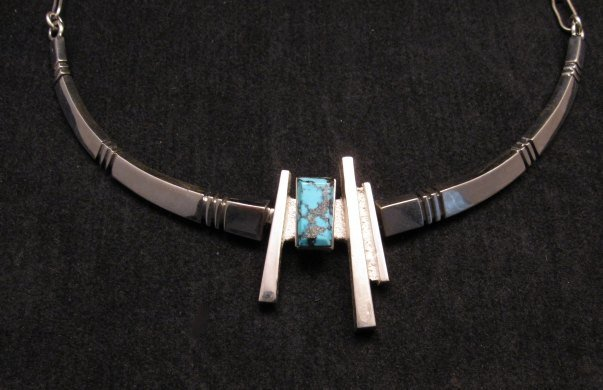 Native American Kingman Turquoise Silver Necklace, Ronnie Henry