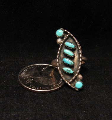 Old Zuni Pawn Turquoise Silver Ring sz5-1/4