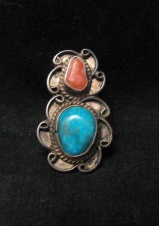 Dead Pawn Navajo Turquoise & Coral Silver Ring sz6-1/2