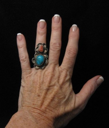 Image 1 of Dead Pawn Navajo Turquoise & Coral Silver Ring sz6-1/2
