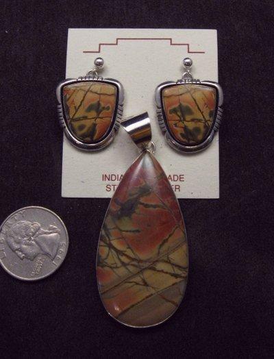 Image 2 of Navajo Native American Red Creek Jasper Pendant, Evangie Willie