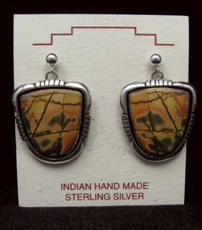 Image 0 of Navajo Native American Red Creek Jasper Earrings, Lonnie Willie