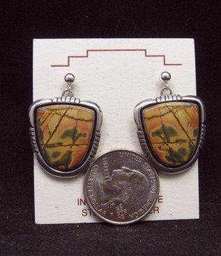 Image 1 of Navajo Native American Red Creek Jasper Earrings, Lonnie Willie