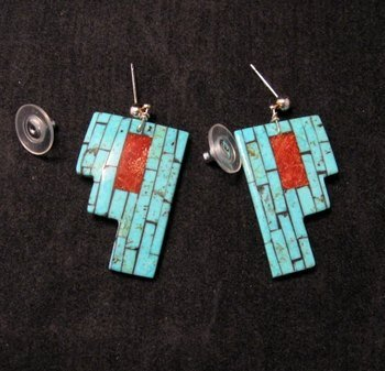Native American Inlaid Shell Earrings by Charlotte Reano, Santo Domingo