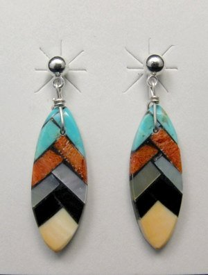 Santo Domingo Inlaid Feather Earrings, Charlotte Reano