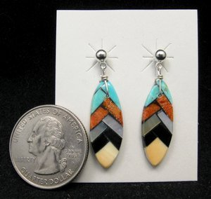 Image 1 of Santo Domingo Inlaid Feather Earrings, Charlotte Reano