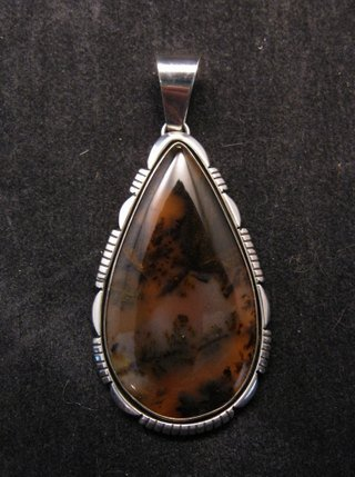 Large Dendritic Agate Silver Pendant by Navajo Lonnie Willie