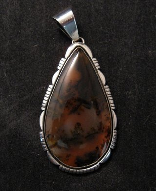 Image 2 of Large Dendritic Agate Silver Pendant by Navajo Lonnie Willie
