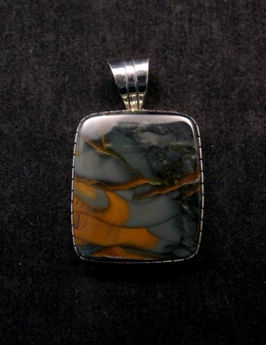 Navajo Morrisonite Silver Pendant, Delbert Vandever