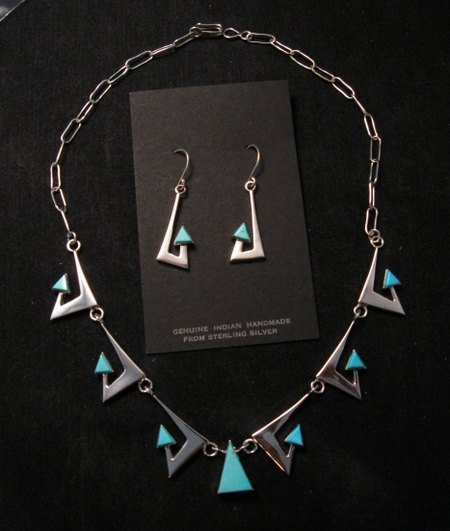 Broken Arrow Necklace & Earrings, Turquoise, Navajo, Ronnie Henry