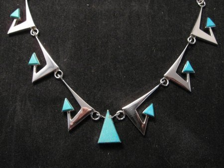 Image 1 of Broken Arrow Necklace & Earrings, Turquoise, Navajo, Ronnie Henry