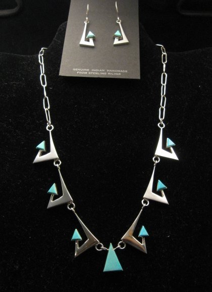 Image 2 of Broken Arrow Necklace & Earrings, Turquoise, Navajo, Ronnie Henry