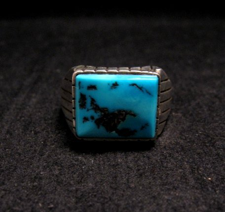 Image 0 of Navajo Native American Turquoise Silver Ring Sz13
