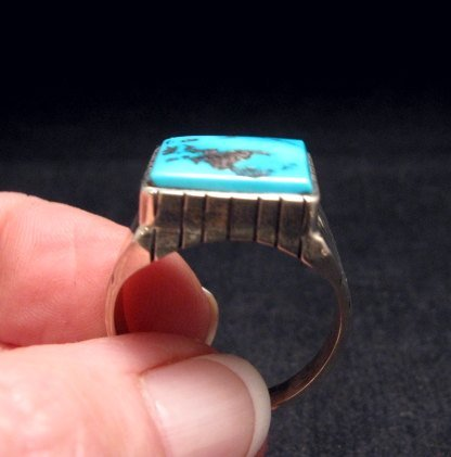 Image 1 of Navajo Native American Turquoise Silver Ring Sz13