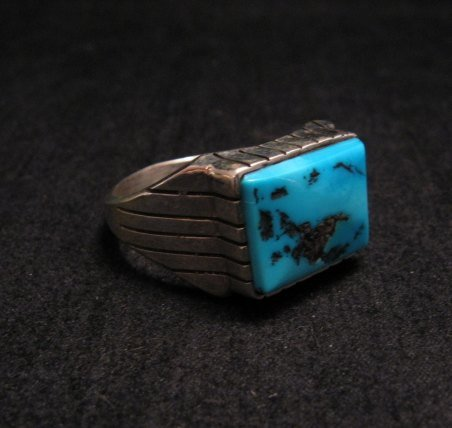 Image 2 of Navajo Native American Turquoise Silver Ring Sz13
