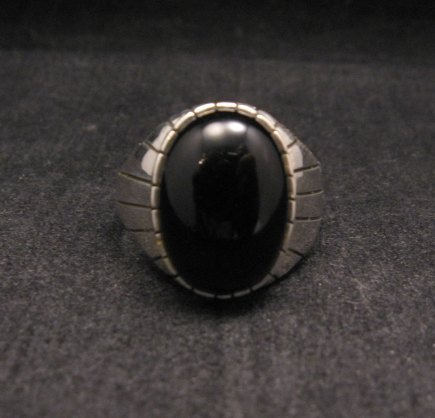 Ray Jack Navajo Black Onyx Sterling Silver Ring Sz12-1/2