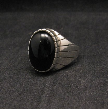 Image 1 of Ray Jack Navajo Black Onyx Sterling Silver Ring Sz12-1/2