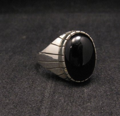 Image 2 of Ray Jack Navajo Black Onyx Sterling Silver Ring Sz12-1/2