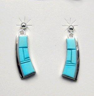 Earl Plummer Navajo Sleeping Beauty Turquoise Inlay Earrings