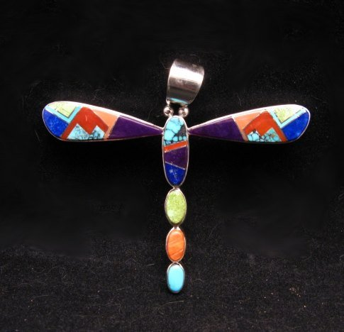 Image 0 of Navajo Multi-stone Inlay Dragonfly Pendant, Earl Plummer