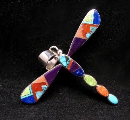 Image 1 of Navajo Multi-stone Inlay Dragonfly Pendant, Earl Plummer
