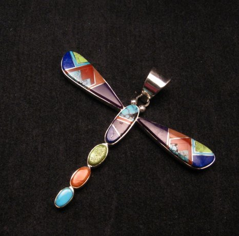 Image 2 of Navajo Multi-stone Inlay Dragonfly Pendant, Earl Plummer