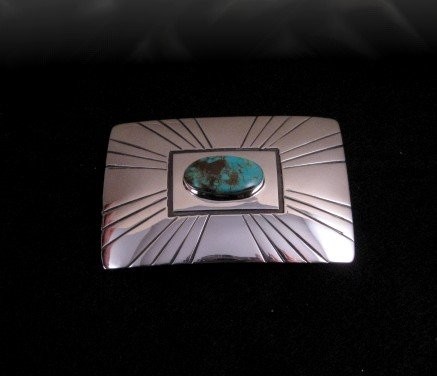 Image 2 of Navajo Turquoise Sterling Silver Buckle, Everett & Mary Teller