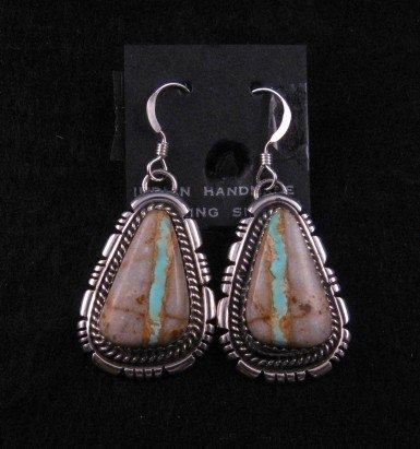 Navajo Native American Ribbon Boulder Turquoise Earrings