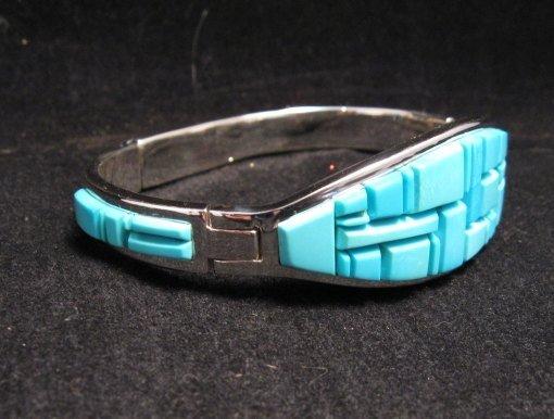 Image 1 of Fabulous Navajo Turquoise Inlay Bracelet, Earl Plummer