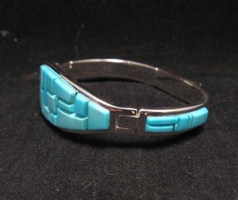 Image 2 of Fabulous Navajo Turquoise Inlay Bracelet, Earl Plummer