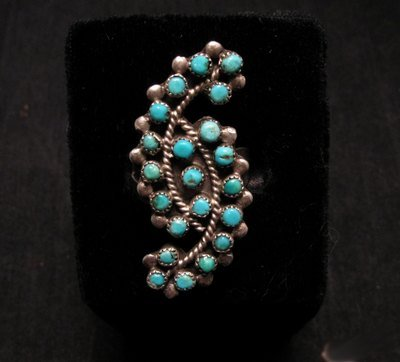 Vintage Native American Turquoise Snake-eye Ring sz10