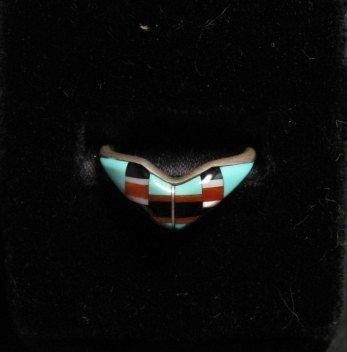 Vintage Native American Zuni Inlaid Ring Sz7-1/2